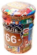Puff Metalico Vintage Route 66 Mod 507 Pequeno