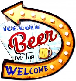 Luminoso Metalico Vintage Beer on Top Welcome Mod FYY-611B  - foto principal 1