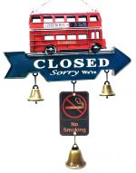 Aviso Retrô Open/Closed com sinos London Bus 1202B