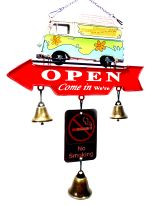 Aviso Retrô Open/Closed com sinos The Mystery Machine 1201M