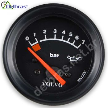 Pressão do Óleo 0-7 Bar - 24V - ø60mm - Aro Preto | VOLVO | - Willtec