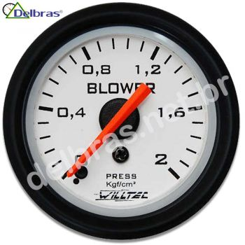 Pressão do Blower 2kgf/cm² C/ Led - ø52mm Fundo Branco Aro Preto Racing