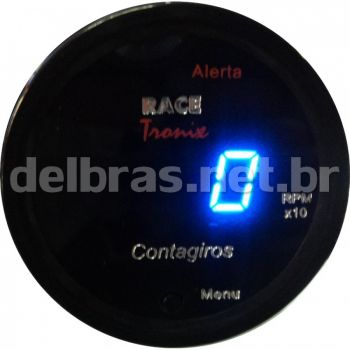 Contagiro Digital - Display Azul - Lente Preta - ø52mm - 12V | RACETRONIX |