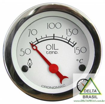 Termômetro do Óleo Cronomac c/ Sensor 12V ø52mm - Hot Rod SILVER