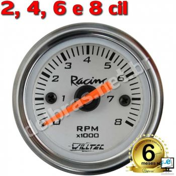Contagiro Willtec 8.000 RPM Inj/Carb 2/4/6/8 Cil. ø60mm - Fundo Branco/Aro Inox - Willtec