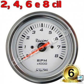 Contagiros Willtec 8.000RPM ø85mm - 2/4/6/8 Cil - Led Branco - Fundo Branco/Aro Inox - Willtec