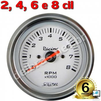 Contagiro Willtec 8.000 RPM ø100mm - Inj/Carb 2/4/6/8 Cil - Fundo Branco/Aro Inox - Willtec