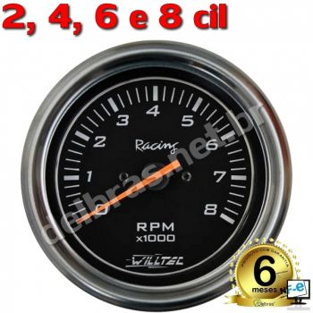 Contagiro Willtec 8.000 RPM ø100mm - Inj/Carb 2/4/6/8 Cil - Fundo Preto/Aro Inox - Willtec