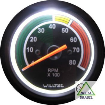 Contagiro Willtec 8.000 RPM ø80mm 4Cil. Gas/Alc C/ Faixa Colorida - Fundo Preto/Aro Preto - Willtec