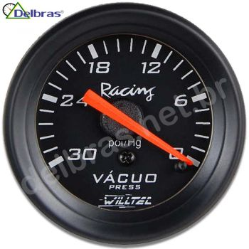 Vacuômetro ø52mm c/ Led - Fundo Preto e Aro Preto Racing