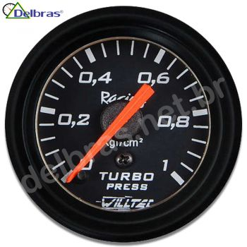 Pressão Turbo 1kg ø52mm C/ Led - fundo preto e aro preto Racing