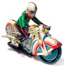 VINTAGE MOTORCYCLE MOTOR RIDER RACER WIND-UP TIN TOY  - foto 4