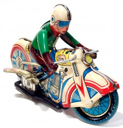 VINTAGE MOTORCYCLE MOTOR RIDER RACER WIND-UP TIN TOY  - foto principal 1