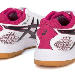 Tênis Asics Gel Rocket 8 A White Black Bright Rose Feminino  - foto principal 4