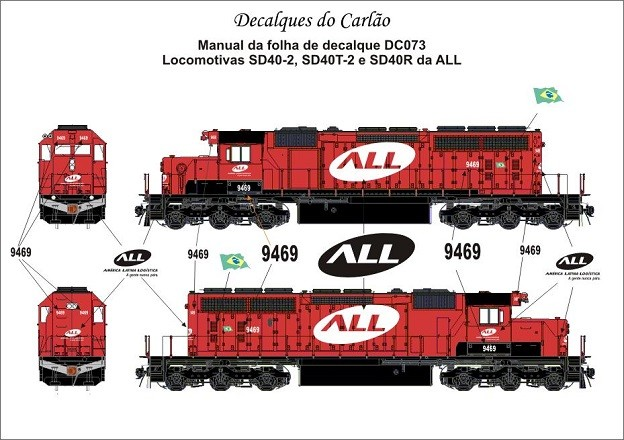 Decal Locomotiva ALL SD40-2 / SD40T-2 / SD40R - CARLÃO - DC073  - foto principal 1