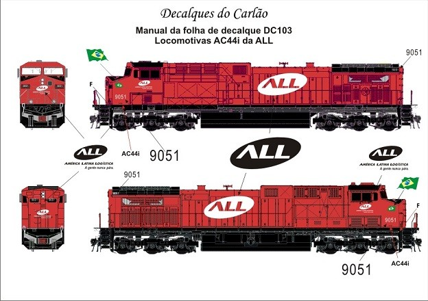 Decal Locomotiva ALL AC44i - CARLÃO - DC103  - foto principal 1