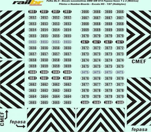 Decal Pilotos e Number-Boards Locomotiva G12 FEPASA Fase I e II - RAILBR - DL4