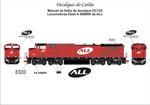 Decal Locomotiva ALL Dash 9-40 BBW - CARLÃO - DC135