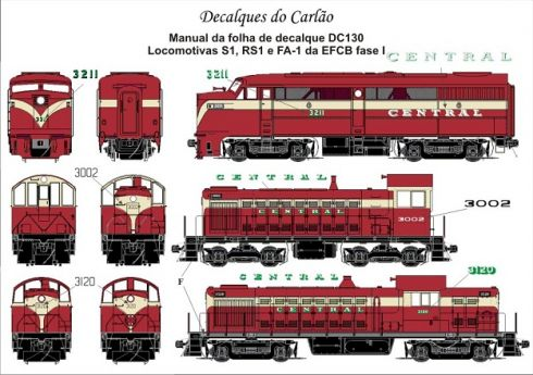 Decal Locomotiva EF CENTRAL do BRASIL S1 / RS1 / FA1 Fase I - CARLÃO - DC130
