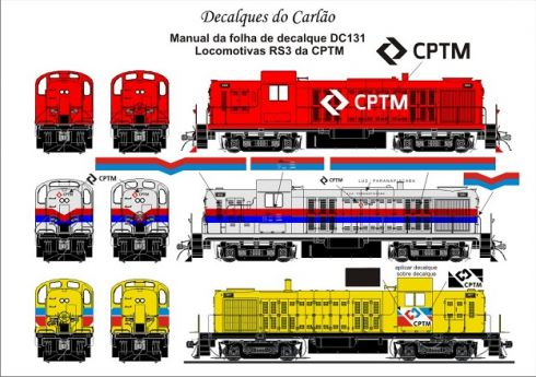 Decal Locomotiva CPTM RS-3 - CARLÃO - DC131