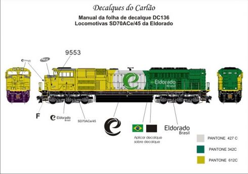 Decal Locomotiva ELDORADO SD70ACe - CARLÃO - DC136