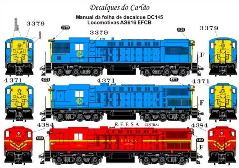 Decal Locomotiva EFCB e RFFSA AS616 / AS616E - CARLÃO - DC145