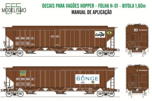 Decal Vagão Hopper 01 - EFS MODELISMO - H01