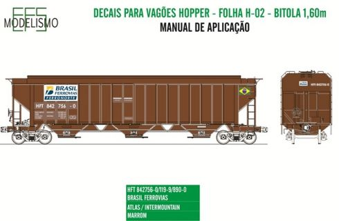 Decal Vagão Hopper 02 - EFS MODELISMO - H02
