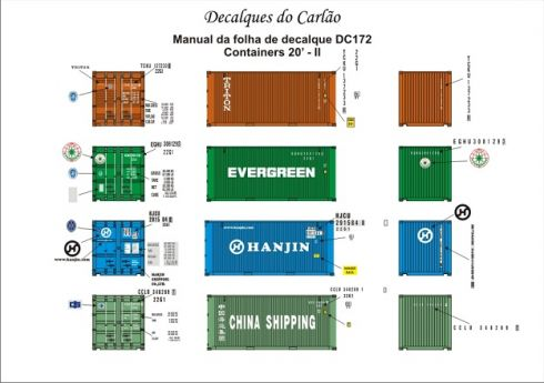 Decal Contêiner 20 II - China Shipping / Evergreen / TRITON / Hanjin - CARLÃO - DC172