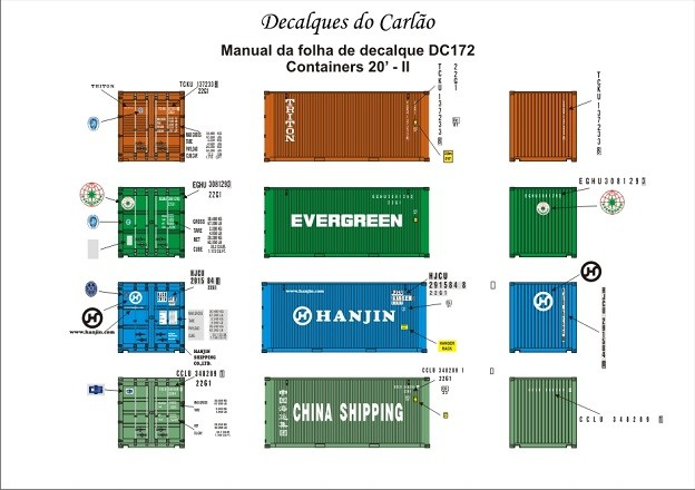 Decal Contêiner 20 II - China Shipping / Evergreen / TRITON / Hanjin - CARLÃO - DC172  - foto principal 1