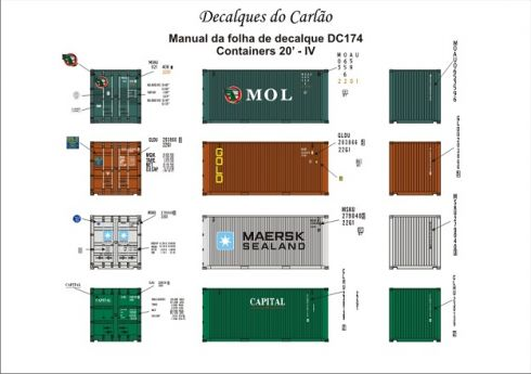 Decal Contêiner 20 IV - MOL / MAERSK / GOLD / CAPITAL - CARLÃO - DC174  - foto 2