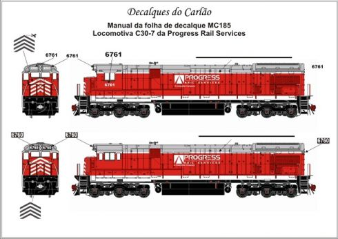 Decal Locomotiva PROGRESS RAIL C30-7 - CARLÃO - MC185ATL