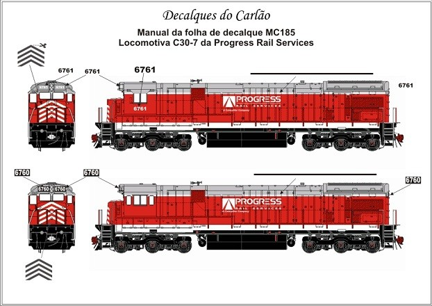 Decal Locomotiva PROGRESS RAIL C30-7 - CARLÃO - MC185ATL  - foto principal 1