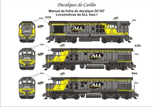 Decal Locomotiva ALL G12 / G22-U / G22-CU Fase I - CARLÃO - DC187