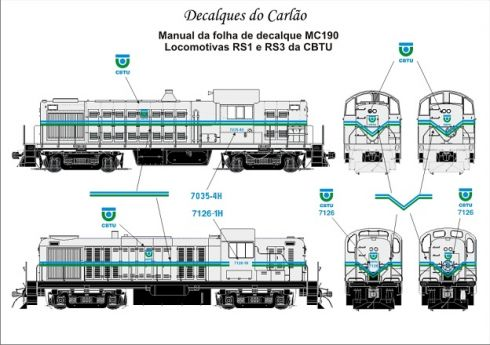 Decal Locomotiva CBTU RS1 / RS3 - CARLÃO - MC190