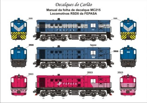Decal Locomotiva FEPASA RSD8 - CARLÃO - MC215