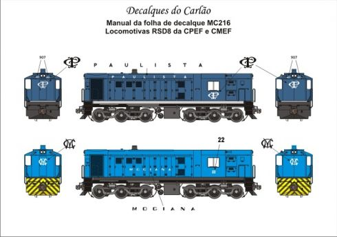 Decal Locomotiva CPEF e CMEF  RSD8 - CARLÃO - MC216  - foto 2