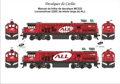 Decal Locomotiva ALL U20C Bitola Larga - CARLÃO - MC222