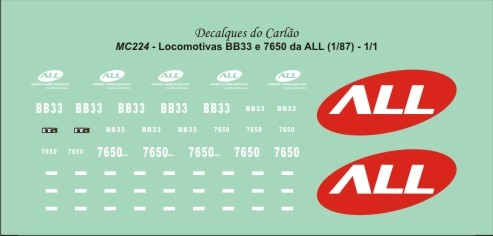Decal Locomotiva ALL BB33 e 7650 - CARLÃO - MC224  - foto principal 2