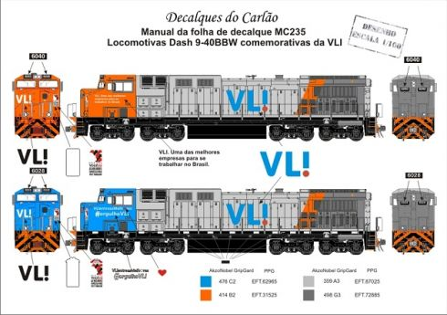 Decal Locomotiva VL! Comemorativa Dash 9-40 BBW - CARLÃO - MC235