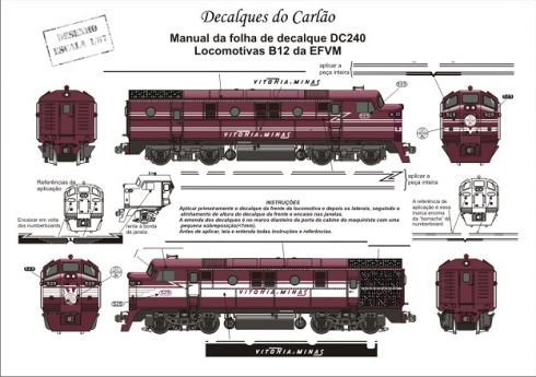Decal Locomotiva EFVM B12 - CARLÃO - DC240