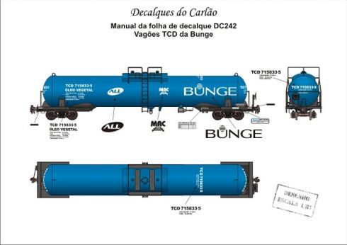 Decal Vagão Tanque ALL / BUNGE - CARLÃO - DC242