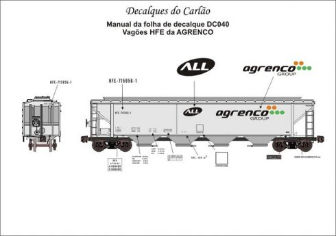 Decal Vagão Hopper AGRENCO - CARLÃO - DC040