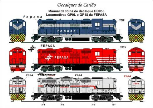 Decal Locomotiva FEPASA GP9L / GP18 - CARLÃO - DC055