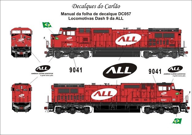 Decal Locomotiva ALL DASH 9 - CARLÃO - DC057  - foto principal 1