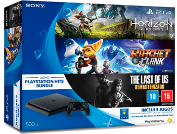 Playstation 4 Slim 500 GB+3 Jogos