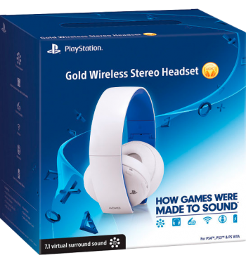 HeadSet Branco Sony Gold 7.1 Wireless PS4/PS3