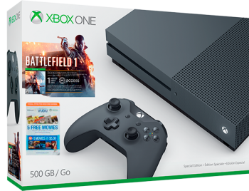 Xbox One S 4K 500 GB Grafite c/ Jogo Battlefield 1