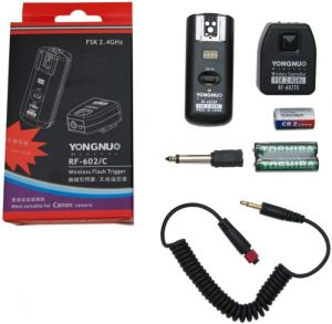 Kit Disparador de Flash Remoto Yongnuo RF-602C para cameras Canon (Radio Flash, Wireless Flash Trigger)