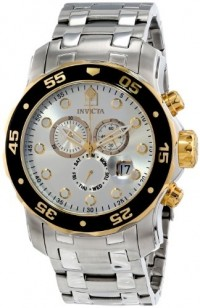 Relógio de Pulso Invicta Mens Pro Diver Scuba Swiss Chronograph Silver Dial Stainless Steel Bracelet Watch 80040